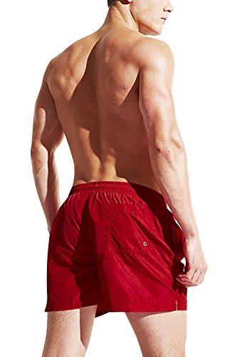 Dolamen Herren Badehose Badeshorts Kurze Hose Shorts Slip, Herren Badeanzug Swimming Trunks Schwimmhose Badekleid, Swimwear Bademode mit verstellbarem Tunnelzug innen Rot
