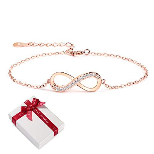 Damen Armband Rosegold Zirkonia 925 Sterling Silber Schmuck für Frauen Mädchen,Infinity Unendlichkeit Symbol Unendlicher Liebe Armkettchen Armbänder Geschenk für Weihnachten Valentinstag Geburtstag