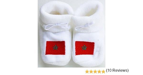 Chaussons b/éb/é brod/és drapeau de la Tunisie Happy baby blanc 0//3mois