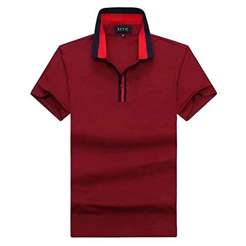 ECTIC Uomo Men's Casual fashion Polo shirt Poloshirts Size M-XXXL A9921 Red