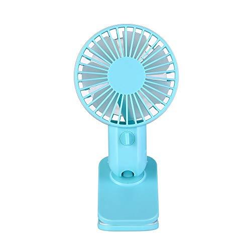 CAOQAO Typ Mini-USB-Clip Fan Fan Einstellbare Fan wiederaufladbare tragbare Windgeschwindigkeit 2 für Haus, Büro und die Reise, Spaziergang, Wandern, Camping, Blau -