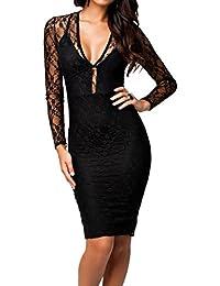 E-Girl Sexy col V Lacy flirt Prom soir Midi robe,Noir,Taille unique