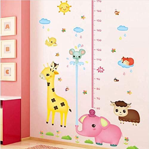 GHUJFDB Cartoon Elefanten Und Schafe Wandaufkleber Höhenlehre Messen Kinderzimmer Kinderzimmer Dekoration Große Größe Wandtattoos (Schafe In Der Großen Stadt)