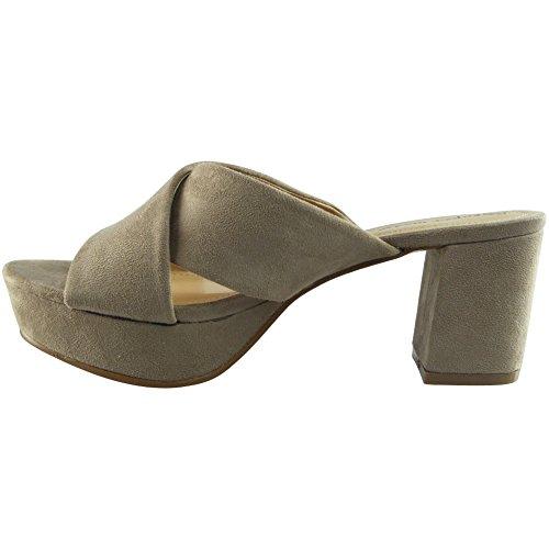 Nuovo Da donna Faux Scamosciato Scivolare su Chunky Piattaforma Mules Sandali Scarpe Dimensione 36-41 Crema