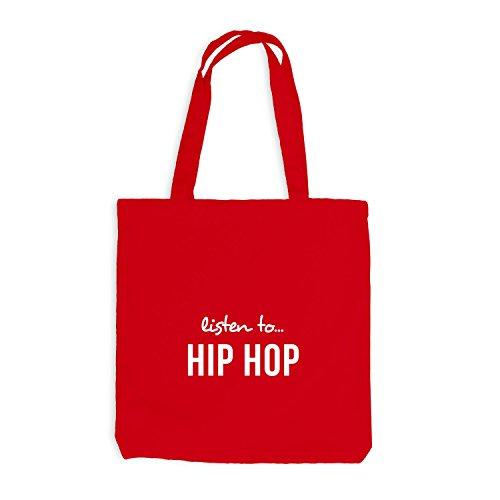 Jutebeutel - Listen To Hip Hop - Music Fan Musik Rot