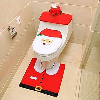 Ogquaton Juego de Funda de tocador de Santa Claus, Cubierta de Caja de pañuelos, Cubierta de Tanque de Agua, Juego de alfombras 4 Piezas, Accesorios de baño, Decoraciones navideñas
