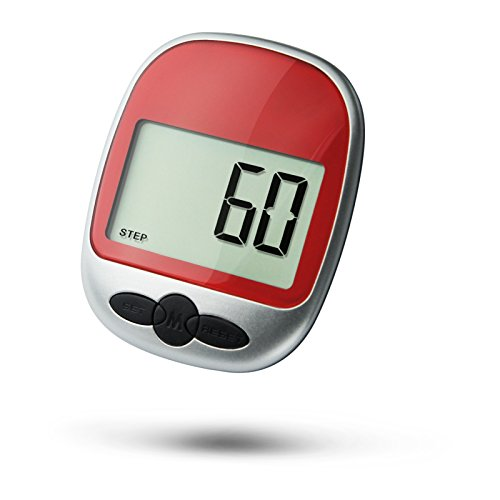 Super Preis Schrittzähler Pedometer Fitness Aktivitäten Zählerein akkurater Laufschrittzähler und Kalorienzähler, mit Clip (Rot)