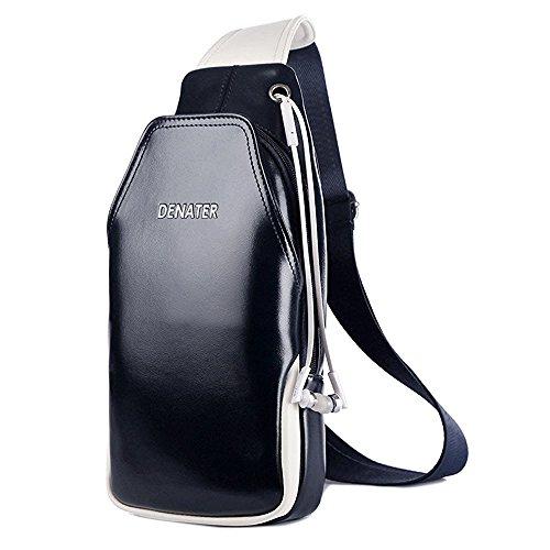NiNE CiF Para Hombres Bolso Mochila de Pecho cuero Charminer Bolso Pecho Deportivo Bolsa Sling CrossBod Bag (Azul)