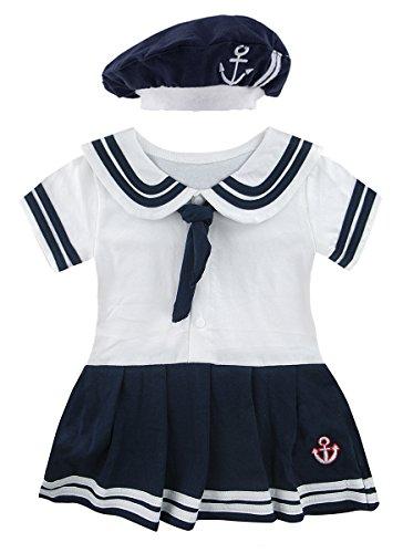 Mombebe Baby Mädchen Matrose Body Sommer Kurz Kleider mit Hut (Matrose 2, 18-24 Monate)