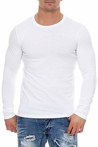 Herren Langarmshirt Longsleeve Rundhals S M L XL 2XL 3XL, Farbe:Weiß, Größe:3XL