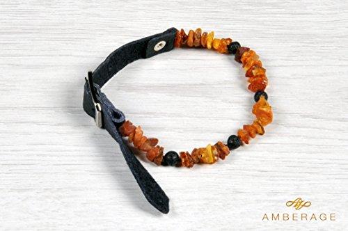 AMBERAGE Authentisches Bernstein-Halsband mit Verstellbarem Lederband und Echten Lava-Perlen für Hunde und Katzen/natürlicher Haustierschutz Haustierliebhaber (5 Größen) (S 28-36cm)