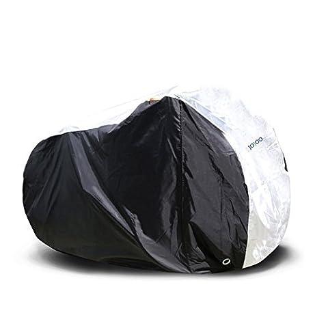 jojoo Housse pour vélo–210D Tissu Polyester Épais robuste Housse imperméable de vélo pour 2Vélos avec serrure trou, noir et argent cs006