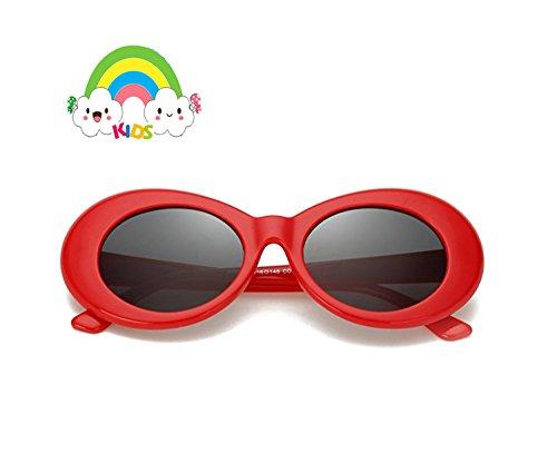 FOURCHEN Occhiali da sole per bambini, occhiali da sole per ragazzi/ragazze Clout Goggles Oval Mod Retro Vintage Occhiali da sole Round Lens nero