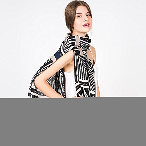 National Wind nouvelle rayures géométriques pour automne/hiver foulard foulards châles grand silencieux double Black