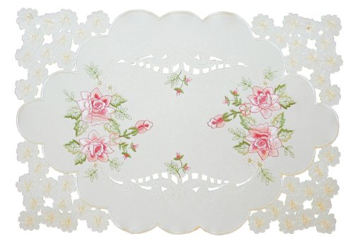 Xia Home Fashions Bloom Bestickt Durchbrucharbeit Floral Platzsets, 12von 18, Set 4 -