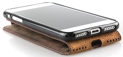 Blumax Flip Case Ledertasche für iPhone SE iphone 5s 5 Backcover Tasche Vintage Braun Antik Dunkelbraun