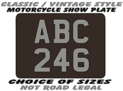 CLASSIC / VINTAGE style REAR NUMBER PLATE for MOTORCYCLE - SHOW PLATES ONLY (not road use legal) with free bottom line / tag line text - choice of sizes 9 x 7 / 8 x 6 / 7 x 5 / 6 x 5 / 6 x 4 / 9 x 9 / 8 x 8 / 7 x 7 / 6 x 6 (plus 2.5 x 1.75 novelty fridge