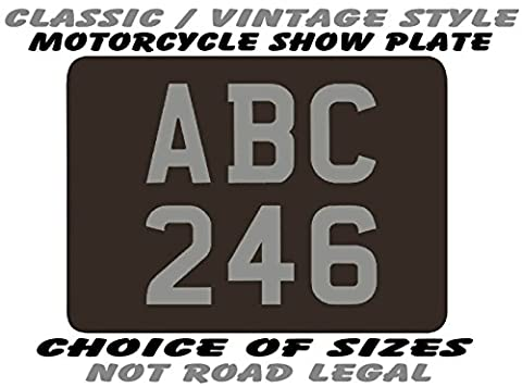 CLASSIC / VINTAGE style REAR NUMBER PLATE for MOTORCYCLE - SHOW PLATES ONLY (not road use legal) with free bottom line / tag line text - choice of sizes 9 x 7 / 8 x 6 / 7 x 5 / 6 x 5 / 6 x 4 / 9 x 9 / 8 x 8 / 7 x 7 / 6 x 6 (plus 2.5 x 1.75 novelty fridge magnet) - for motorcycle motor cycle motorbike bike trike scooter moped quad or quadbike - great Christmas Birthday Fathers Day gift for any biker (6 X