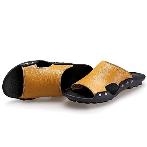 SHANGXIAN Cranio di uomo estate Flip infradito sandali di cuoio casuali Naturals