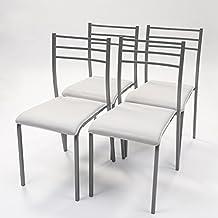 Pack de 4 sillas de cocina PARIS con estructura de metal y asiento en pvc (Gris-Blanco)