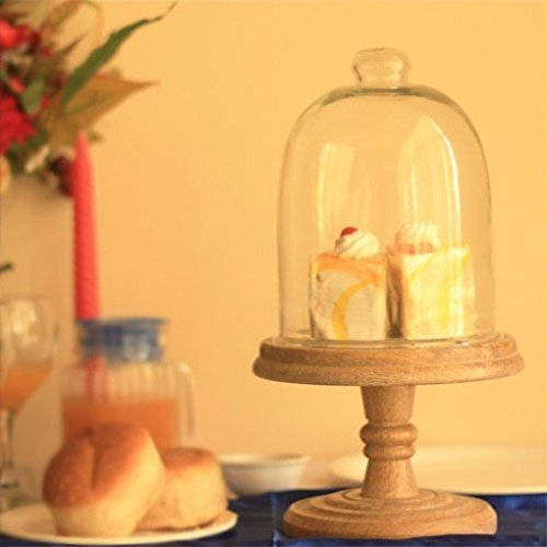 Rustic Wood Small Pedestal Cake Stand with Cloche/Dome