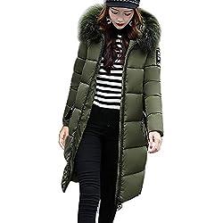 Casual Abrigo Invierno Para Mujer Con Capucha Acolchado Verde Del Ejército