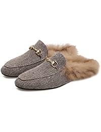 Otoño de mujer y zapatillas lindo invierno, zapatillas de algodón cálido hogar de la manera , wine red , 37