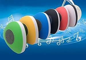 PANMARI Subwoofer douche portable sans fil Bluetooth étanche douche haut-parleur mains libres de voiture Recevez Appel Musique aspiration Téléphone Mic, Jaune