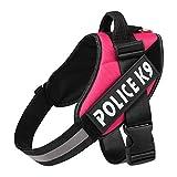 LCBN® Hund Brustgurt Explosionsgeschützter Ansturm K9 Reflektierend Einfach Zu Steuern Abnehmbares Logo Einstellbar Reflektierendes Federzugseil Mehrfachfarbe,Pink,L