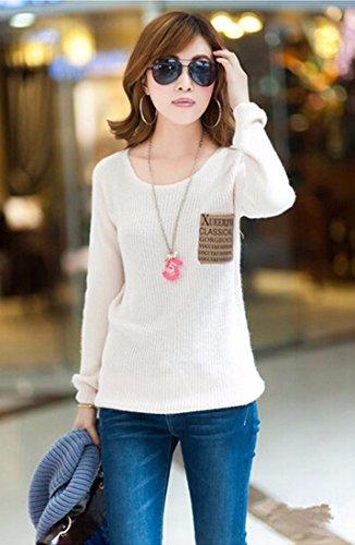 New Hiver Coreenne Loose Women Epaissir Manches Longues Blouses Tricot Chandails Blanc