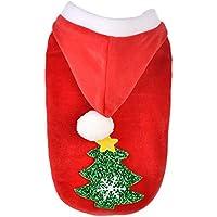 LANTA petsuppliesmisc Moda árbol de Navidad otoño Invierno Perro Chaqueta con Capucha Abrigo cálido Ropa para