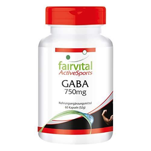 GABA Kapseln 750mg - HOCHDOSIERT - VEGAN - 60 Kapseln - Gamma-Aminobuttersäure - Gamma-aminobuttersäure