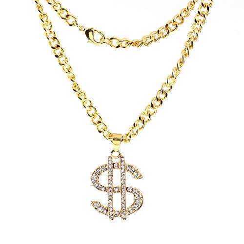 skette,Arbeiten Sie Legierungs-Hip-Hop-Art, Übertrieben Eingelegte Zirkonhalskette, Hängenden Schmuck des Dollarzeichens, Personifizierte Kleidung Mit Goldschmuck Um ()