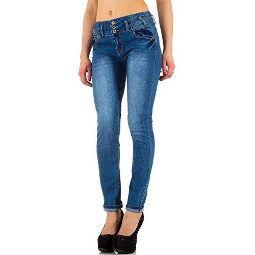 Damen Jeans, USED LOOK HIGH WAIST SKINNY JEANS, KL-J-RL33028 Blau