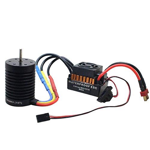 TianranRT 10T 3930KV Brushless Motor + 60A ESC Drehzahl Steuergerät Combo Für 1/10 RC Auto (B) Keychain Remote Kit
