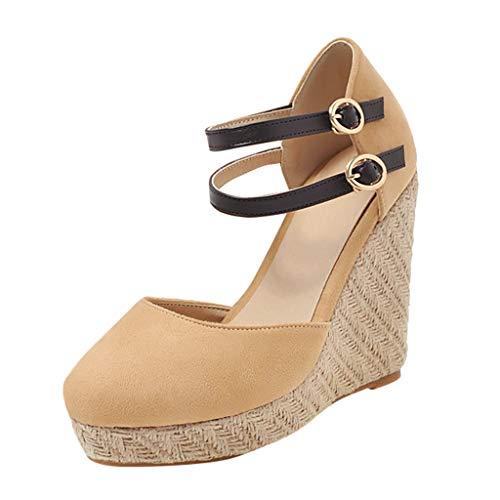 PAOLIAN Sandalias Mujer Plataforma Cuña Verano 2020 Zapatos Mujer Tacon Altas Elegantes Alpargatas...