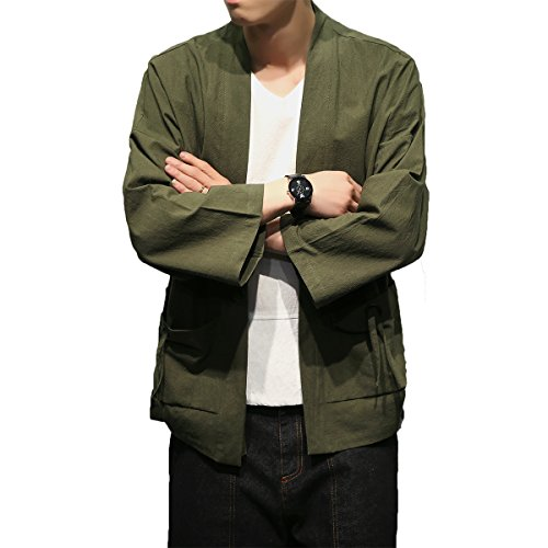 Mirecoo Herren Baumwolle Japan Happi Kimono Haori Jacke Übergangsjacke Grün