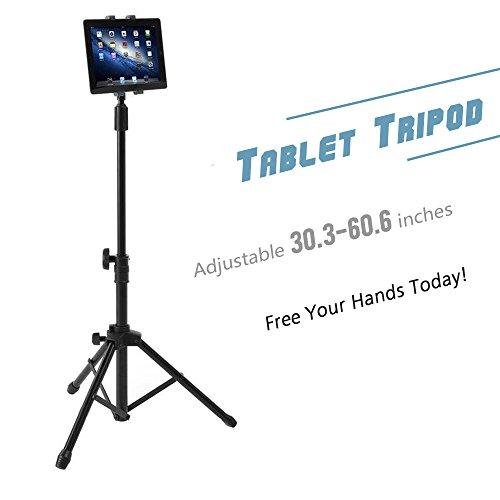 Coolplay Boden-Stativständer für Tablets iPads mit Tragetasche Dreibein Stativ Kamera Ständer Kamera Stativ Leichtes Stativ Kleines Stativ verstellbare Höhe und 360 Grad rotierend Perfekt für 7 bis10 iPad  Mini, Samsung Galaxy Tab Smartphones
