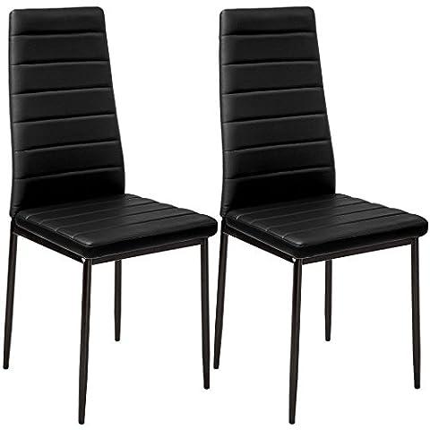 TecTake Lot de 2 chaise de salle à manger 41x45x98,5cm noir