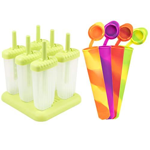 Eisformen, 6 Eisformen Popsicle Formen Set Silikon, 4 Stück Eislutscher Eis am Stiel,Eis Pop Macher, Bpa Frei