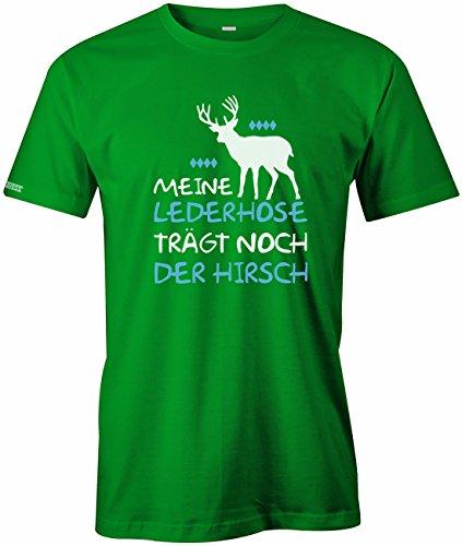 Meine Lederhose trägt noch der Hirsch - Oktoberfest - Herren T-Shirt Grün