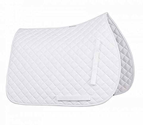 Gallop Cotton Quilted Saddle Cloth Pad for Horses or Ponies all colours (White, Full)