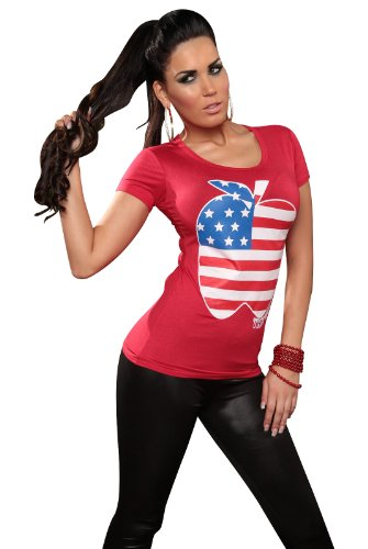 "KouCla Damen T-Shirt Top Longshirt ""Big Apple"" Apfel Rundhals-Auschnitt Rot"