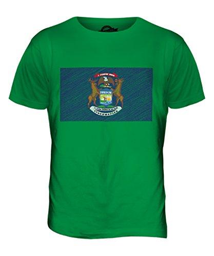 CandyMix Bundesstaat Michigan Kritzelte Flagge Herren T Shirt Grün