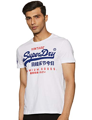 Superdry Herren Premium Goods Duo LITE Tee T-Shirt, Weiß (Optic 01c), X-Large (Herstellergröße: XL)