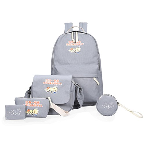 FZHLY Piccolo Spalla Fresca Lady Canvas Bag Cinque Pezzi Serie Di Zaino,DarkBlue Gray