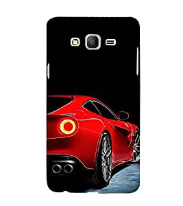 FUSON Red Sporst Car Standing 3D Hard Polycarbonate Designer Back Case Cover for Samsung Galaxy On7 Pro :: Samsung Galaxy On 7 Pro (2015)