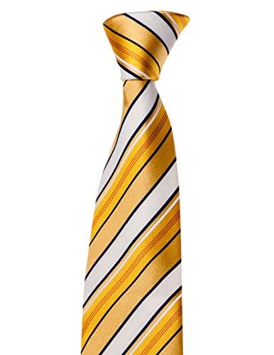 Krawatte von Mailando, mit Streifen, gelb - weiss