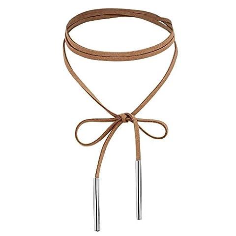 AnaZoz Schmuck Damen Samtband Choker Halsketten Halsband Lange Schleife 2 Bars, Silber Hell Braun Kragen-Halsketten für Frauen