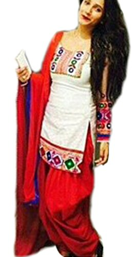 Clickedia Women\'s Cotton Embroidered White red Patiala Suit- Dress Material